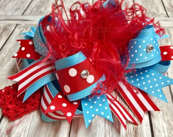Dr. Suess Over the Top Bows,Teal and Red Hair Bow Headband,Large Red and Turquoise Bow,Over the Top Dr Suess Birthday Party Bows