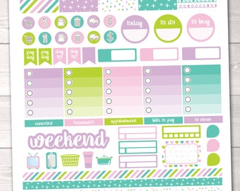 ON SALE Instant Download Planner Stickers Weekly Kit with Full & Ombre Boxes, Washi, Pay Day, Habit Tracker Appointment Boxes Printable PDF