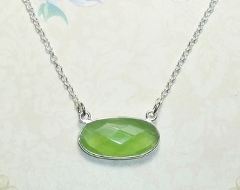 Green Chalcedony Necklace, Sterling Silver and Green Chalcedony Necklace, Green Gemstone Layering Necklace