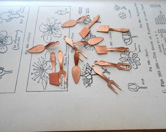 12 pc grilling charms vintage old new stock copper pieces tongs forks spatula cooking charms food charms vintage kitschy charms