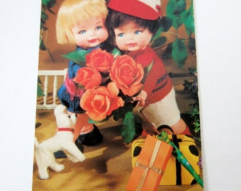 Kitsch Doll Postcard - 1960s Vintage Postcard with Cute Dolls and Flowers