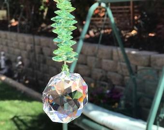"Large 10"" Long Peridot Green August Birthstone 50mm Dahlia Swarovski Crystal Rainbow Suncatcher for Home or Car, Window Crystals Sun Catcher"