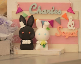 rabbit Wedding Cake Topper-love rabbits and bunny