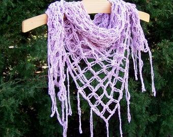 Solomon's Knot Scarf - Fringe Triangle Shawl - Festival Clothing - Crochet Scarf - Boho Summer Shawl - Silk Wrap