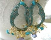 Tanzanite and Opal Chandelier Earrings