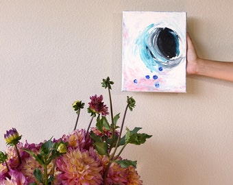 """Blueberry Modern Abstract Acrylic Painting on Canvas, Black White & Teal Blueberries Small Contemporary Wall Art Canvas Art Decor 8""""x10"""""""