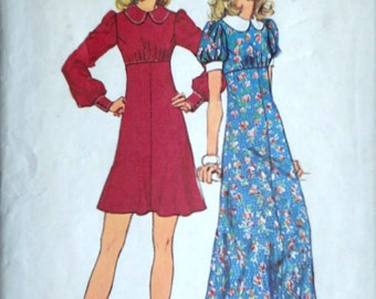 Vintage 70's Simplicity 5844 Sewing Pattern, Misses' Mini and Maxi Empire Dress, Size 14, 36 Bust, Retro Boho 1970's Fashion