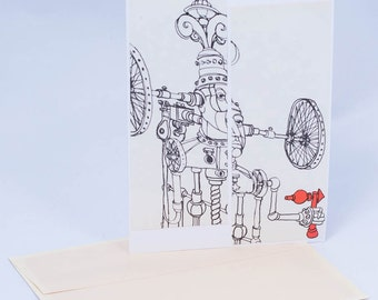 Bicycle Robot. 1960s Vintage Greeting Card