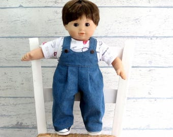 Boy Doll Clothes Denim Overalls and Baseball Tee Shirt, fits 15 inch Bitty Boy, Baby Doll Outfit