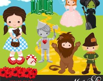 Wizard of Oz Clipart. Dorothy, Tin man, Scarecrow, Cowardly Lion, Glenda, Wicked witch, emerald city, poppy, yellow brick road graphics.