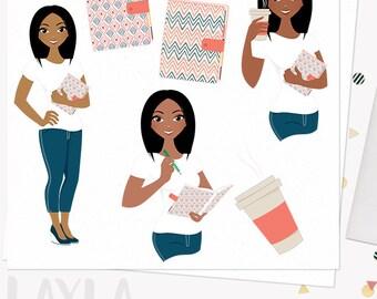 Planner girl character clipart, journal woman, diary, mom organizer, wedding planning, digital african american dark skin (Layla L192)