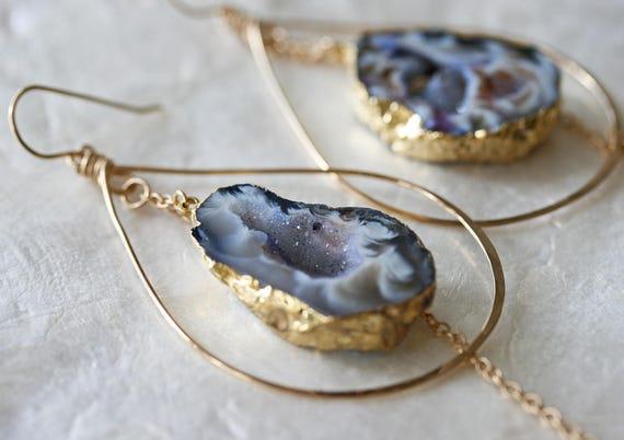Gold Leafed Druzy Geode Hoop Earrings