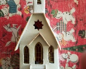 Vintage Putz house, white church, in original box, with steeple with bell, Christmas paper village, house