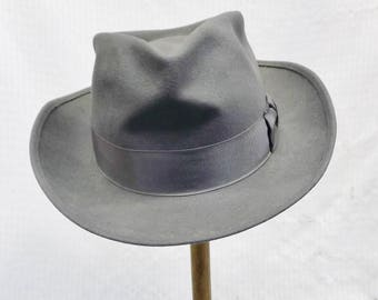 40s 50s Vintage Boy's Gray Fedora Hat Boyville Sears 21 Inches