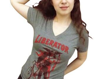 Women's V-Neck T-shirt, The Liberator, Unisex Green