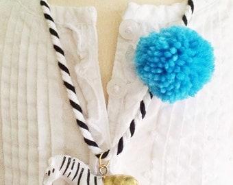 Zebra Necklace. Kids Jewelry. Easter Gift for Kids. Kids necklace. Girls jewelry. Animal Necklace. Blue Pompom Necklace. Boys necklace.