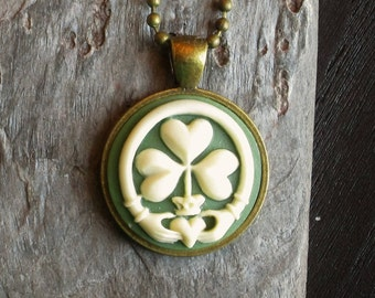 Irish claddagh necklace, cameo necklace, green cameo necklace, antique brass necklace, irish jewelry, cameo jewelry, holiday gift ideas