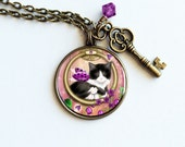 Tuxedo Cat Necklace // Tuxedo Cat Jewelry // Spring Door Round Cameo Necklace - Antiqued Bronze