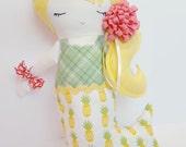 Handmade Mermaid Doll | Greenery Green | Primrose Yellow | Pineapple | Birthday Gift Girl | Girl Present | Mermaid Toy | Girl Doll | Stuffed