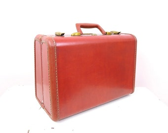 Vintage Brown Suitcase - Vintage Samsonite Travel Train Case Suitcase Overnight Case - 1950s Luggage - Movie Props