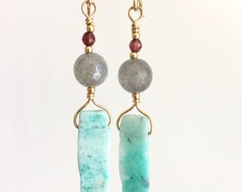 Amazonite and Labradorite Gold Earrings