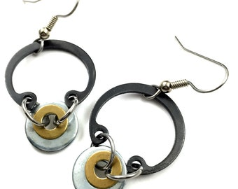 Dangle Earrings Chandelier Hardware Jewelry Industrial Black Metal C clamp with Steel and  Brass Washers