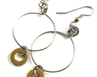 Brass Hoop Earrings Hardware Jewelry