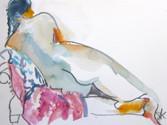 Nude painting- Original watercolor painting of Nude #1422 by Gretchen Kelly