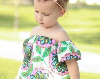 Off The Shoulder Top Toddler Coachella Style Flower Child Summer Boho Girls Custom Sizes