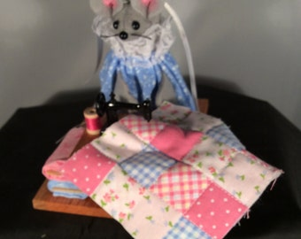 Mouse at her Quilt Table with a Sewing Machine. NEW LOWER PRICE
