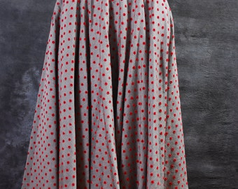 Vintage circle skirt 1950's black and white cotton red eyelet