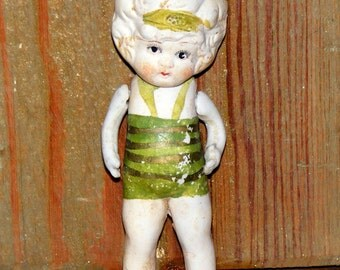 Vintage Bisque Flapper Girl with Swing Arms Frozen Charlotte Figurine marked Japan