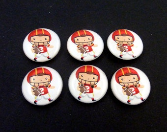 "6 Football Buttons.  3/4"" or 20 mm Boy Football Player Sewing Buttons.  Handmade by Me.  Washer and Dryer Safe."