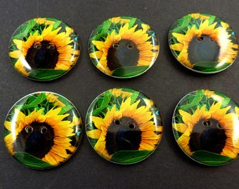 6  Sunflower Buttons.  Brown and Yellow Sunflower Sewing Buttons. Handmade By Me. Washer and Dryer Safe.