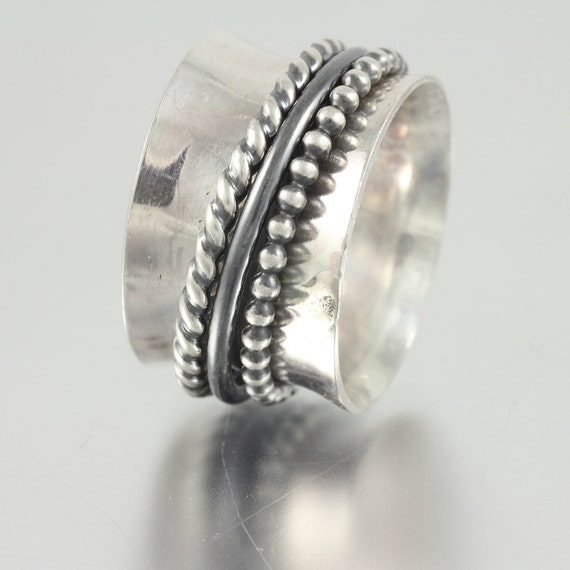 Sterling Silver Band Spinner Ring with Beaded, Wire and Twisted Wire Sterling Spinners