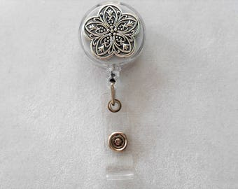 Reel, Retractable Badge Holder Silver Metal Flower . Alligator Clip or Slide Clip