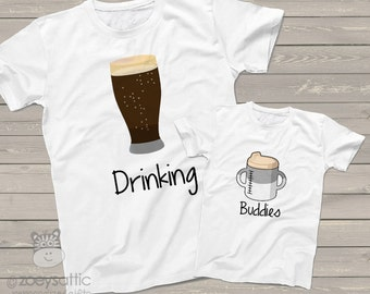 Funny dad and kiddo drinking buddies tshirt gift set - great holiday or Father's Day shirts and gifts DBDKS