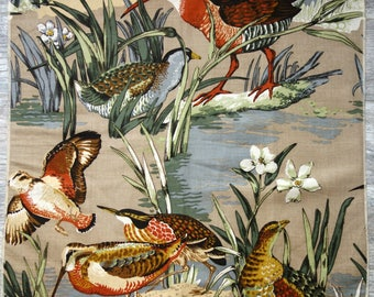"""Waterfowl Fabric Scrap, 26"""" x 24"""" Piece of Cotton Canvas Type Fabric with Many Types of Water Birds for Small Upholstery or Sewing Project"""