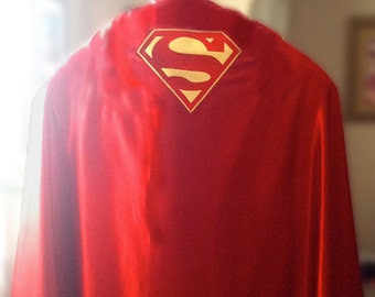 Superman Cape... your choice fabric Gabardine or Satin... your choice Logo color type...