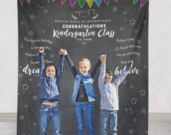 Kindergarten Graduation Backdrop, Kindergarten Graduation Banner, Graduation Party backdrop, Graduation party decor  / H-T04-TP AA3