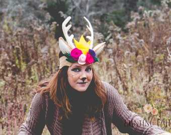 Deer Antler Crown with flowers for Pretend Play and Dress Up