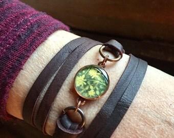 wrap bracelet. choker. yellow flowers. gardening. floral. botanical. adjustable bracelet. suede ties. repurposed. eco fashion. easter gift