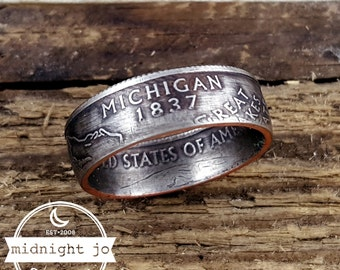 Michigan Coin Ring Double Sided State Quarter Your Size MR0705-TSTMI