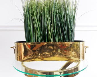 Hollywood Regency solid brass metal planter / Mid Century 1950s plant herb pot/ 50s brass storage bin container