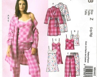 Easy Misses' Robe, Belt, Top, Nightgown, Shorts And Pants,  - McCalls M5248 Sewing Pattern - Sizes: L (16/18) - XL (20/22)