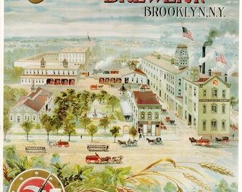 Vintage Brewery Poster - Conrad Eurich's Brewery Brooklyn New York City  Beer Poster to Frame