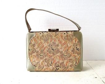 Vintage 1950s Purse | Sparkling Lilies | Floral Tapestry Purse | 50s Handbag