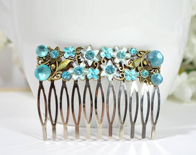 Blue Hair Comb Hair Slide Flower Hair Comb Metal Hair Pick Handmade Hair Accessory