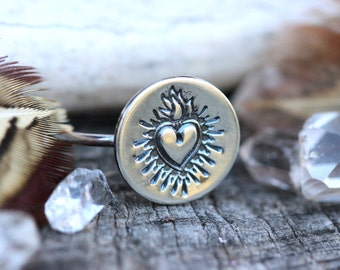 Sacred Heart Ring Sacred Heart Jewelry Heart Stacking Ring Sterling Silver Stacking Ring Silver Stacking Rings Stackable Rings Sacred Heart