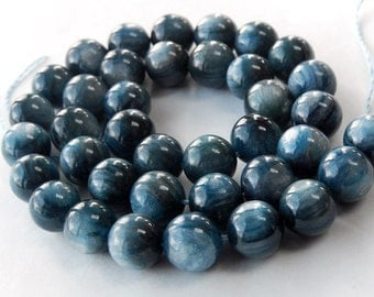 KYANITE Gemstone. Semi Precious Gemstone Bead. Smooth, Round Blue Kyanite Gemstone Bead Large 10mm. Your Choice (aky).